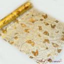 Organza z nadrukiem złotych motyli - złota