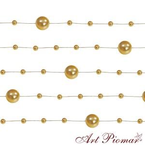 Girlanda perłowa 5 szt/1,3 m złota