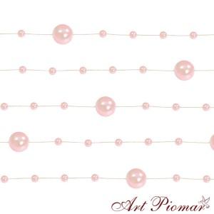 Girlanda perłowa 5 szt/1,3 m jasno różowa