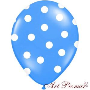 Balon niebieski w białe kropki