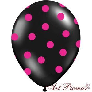 Balon czarny w różowe kropki