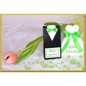 Frak lub suknia z zieloną kokardką