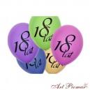 """Balony pastel mix z czarnym dwustronnym nadrukiem """"18 lat"""""""