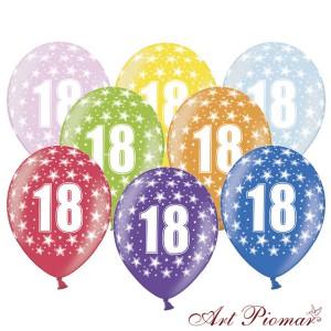 """Balony Metalik Mix z białym, pięciostronnym nadrukiem """"18th birthday"""""""