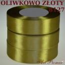 Tasiemka satynowa 12mm kolor 8127 Oliwkowo złoty