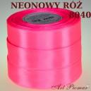 Tasiemka satynowa 25mm kolor 8040 neonowy róż