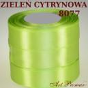 Tasiemka satynowa 25mm kolor 8077 zieleń cytrynowa