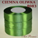 Tasiemka satynowa 25mm kolor 8083 ciemna oliwka