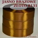 Tasiemka satynowa 25mm kolor 8131 jasno brązowe złoto