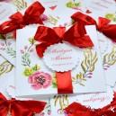 Zaproszenie ślubne Kwiatowy kwadrat + wstążka