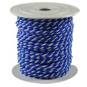Sznurek oplatany 3,2mm niebiesko-biały ROLKA 25MB