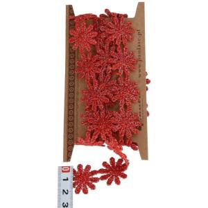 Koronka czerwone brokatowe stokrotki 2,5cm/1mb
