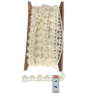 Koronka bawełniana ecru serduszka na taśmie KRP44 1cm/4,5mb