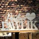 Napis ze sklejki, personalizowany - Państwo Pawlik
