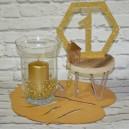 Numery stołów ze sklejki - cyfra 1 PLASTER MIODU, NA PODSTAWCE, złoty z brokatem