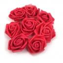 CZERWONE DUŻE różyczki z pianki 6,5cm/10szt.