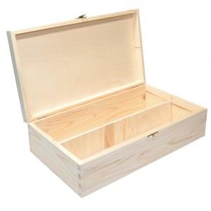 Pudełko drewniane na 2 wina z deklem i z zatrzaskiem