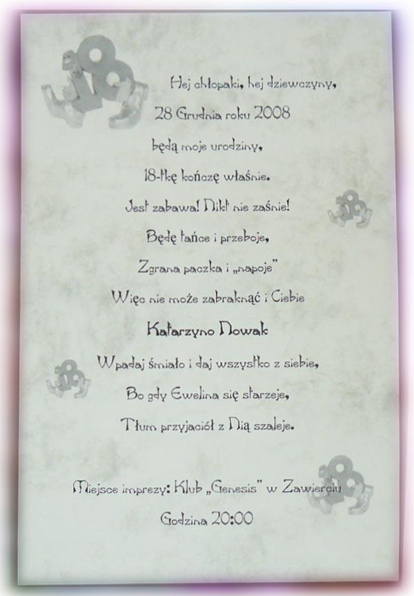 Wspólne Tekst Zaproszenia Na 18 Urodziny Xrc17 Usafrica