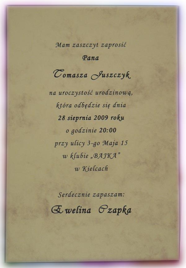 Zaproszenia Na Imprezę Urodziny 18 Rulon