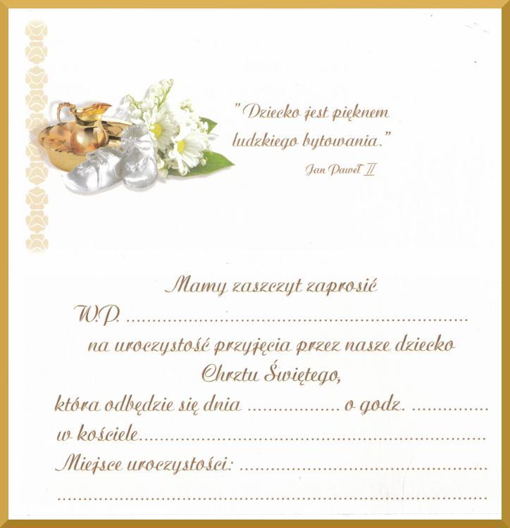 Zaproszenia Na Chrzest Chrzciny Zaproszenie