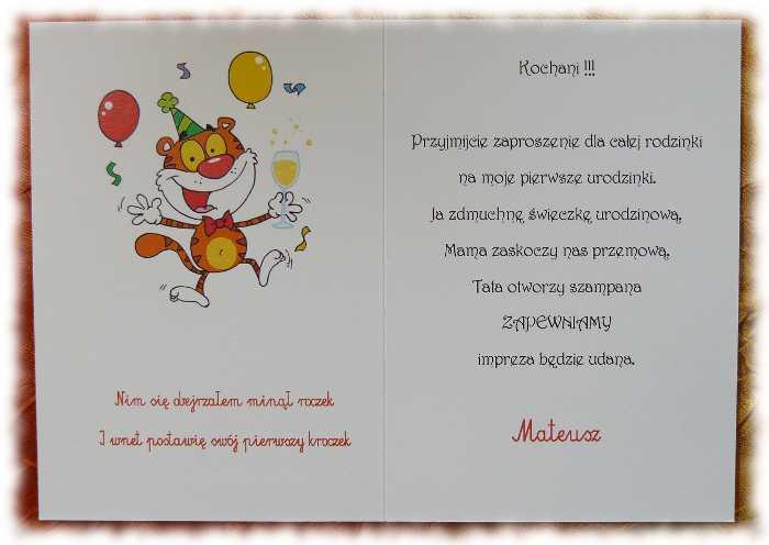 Zaproszenia Urodziny Urodzinowe Roczek